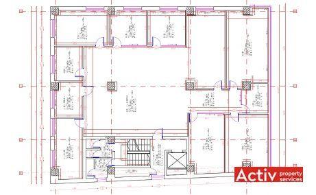 Floreasca 60 spatii de birouri de inchiriat Bucuresti central plan etaj