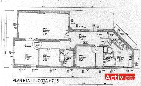 Constatin Noica 159 cladire de birouri de vanzare Bucuresti centru plan etaj