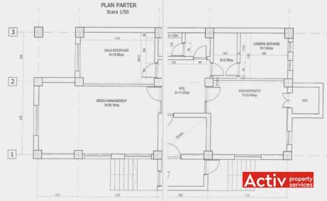 Vespasian 9 inchiriere birouri Bucuresti central vedere plan etaj
