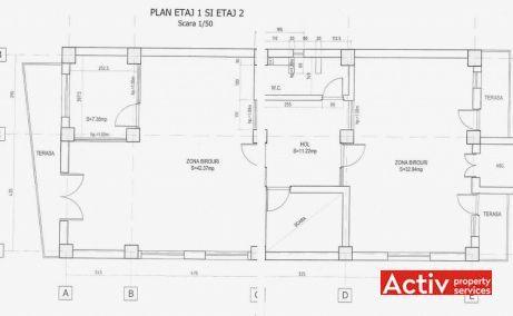 Vespasian 9 birouri de inchiriat Bucuresti central plan etaj