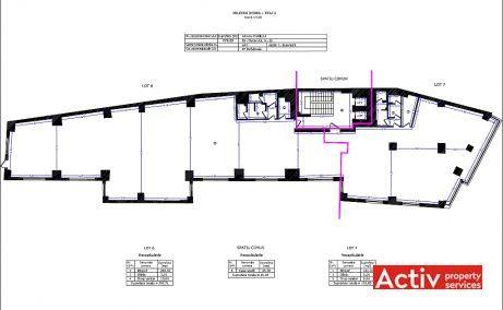 Clucerului 35 spatii de birouri Bucuresti nord plan etaj