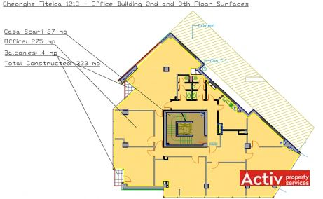 Gheorghe Titeica 121C spatii de birouri de inchiriat Bucuresti nord  plan cladire