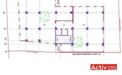 Domus II spațiu de birouri centru București plan clădire