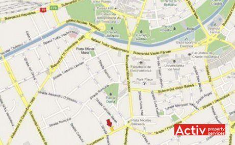 Porumbescu 12 închirieri spații birouri Timișoara poziționare hartă