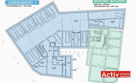 Villa Rosetti spatii de birouri de inchiriat Bucuresti central plan cladire