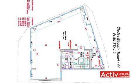 Tunari 44 spatii de birouri de inchiriat Bucuresti central schita etaj