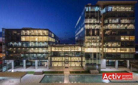 Global City birouri de închiriat în București, vedere aeriană noaptea