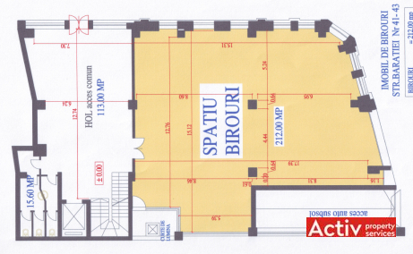 Baratiei 41-43 spatii de birouri de inchiriat Bucuresti central plan 1