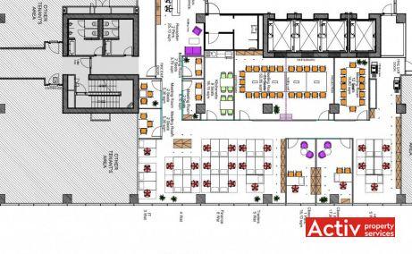 Hermes Business Campus spațiu de birouri București nord Pipera plan etaj
