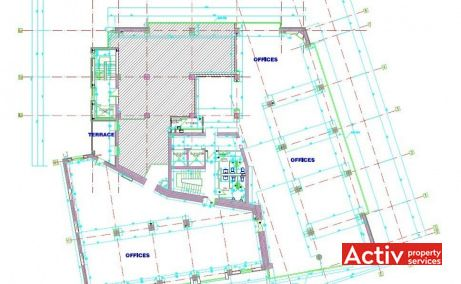 Unimed Business Center - plan etaj. Spațiul de birouri este de aproximativ 780 m2 / etaj.
