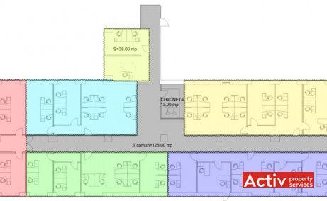 Victoria Park spațiu de birouri aeroport Băneasa plan etaj curent