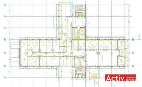 Victoria Park birouri de închiriat aeroport Băneasa plan etaj curent