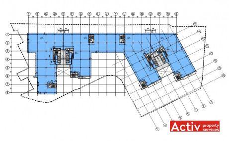 FLOREASCA BUSINESS PARK spații birouri metrou Aurel Vlaicu plan etaj